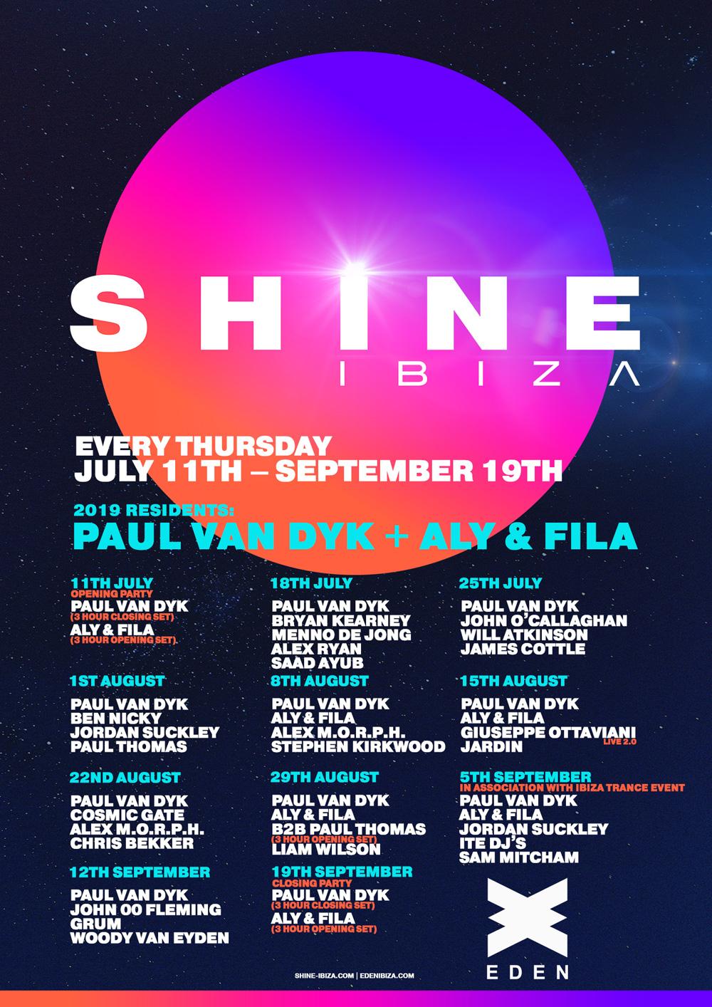 SHINE Ibiza Reveals Season 2019 Dates & Line Up